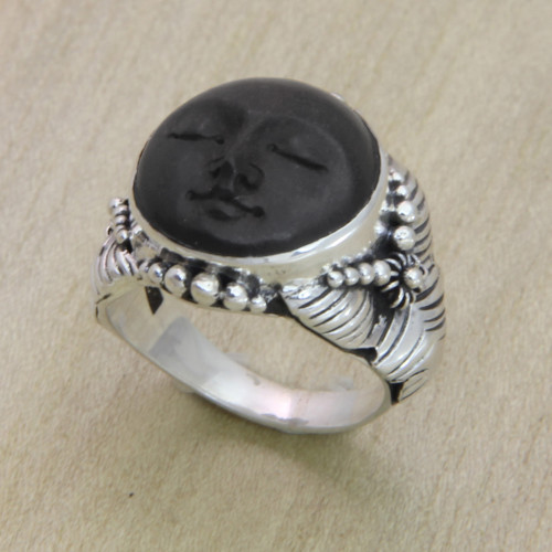 Hand Crafted Ebony Wood and Silver Cocktail Ring 'Amun Ra'