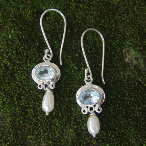 Blue Topaz and Pearl Silver Dangle Earrings 'Sky Fantasy'