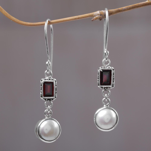 Pearl and Garnet Sterling Silver Earrings 'Pure Passion'