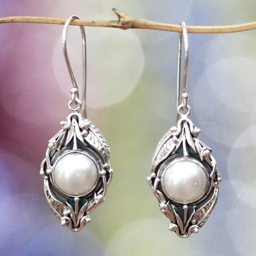 Unique Pearl and Sterling Silver Dangle Earrings 'Nest of Lilies'