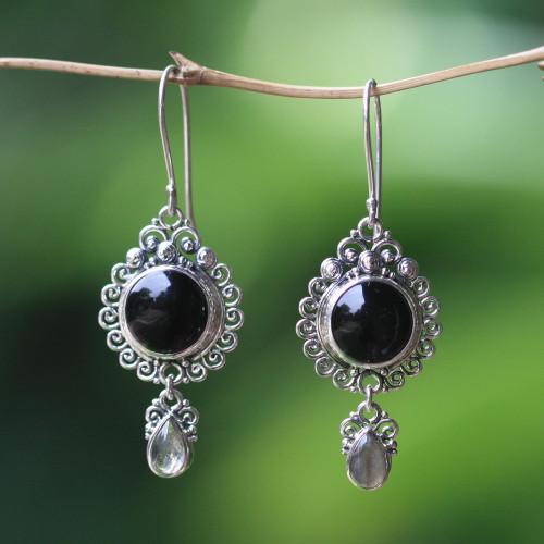 Indonesian Sterling Silver Onyx Dangle Earrings 'Midnight Tears'