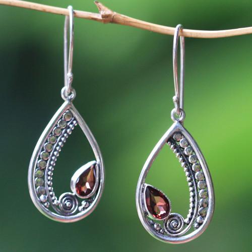 Sterling Silver Garnet Dangle Earrings from Indonesia 'Paisley Swirl'