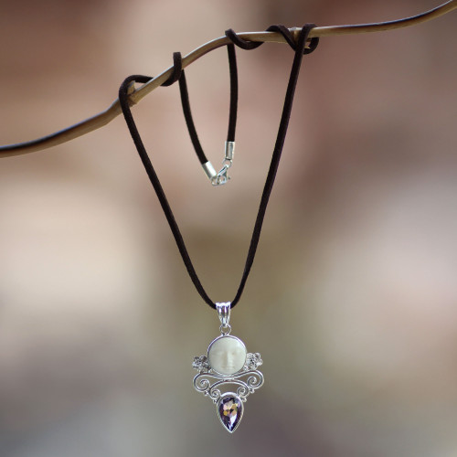 Amethyst and Cow Bone Pendant Necklace 'Guardian Moon'