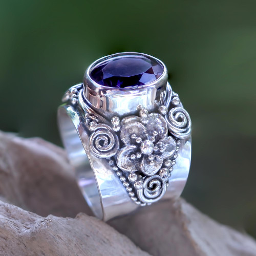 Floral Sterling Silver and Faceted Amethyst Ring from Bali 'Lilac Frangipani'