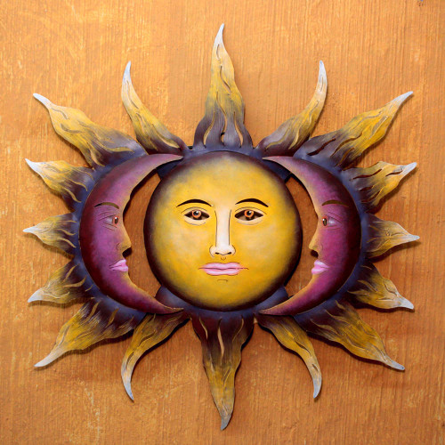 Hand Made Sun and Moon Steel Wall Art from Mexico 'Beloved Sun'