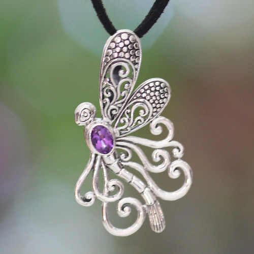 Handmade Indonesian Silver and Amethyst Necklace 'Island Butterfly'