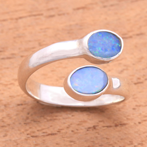 Unique Indonesian Sterling Silver and Opal Wrap Ring 'Close to You'