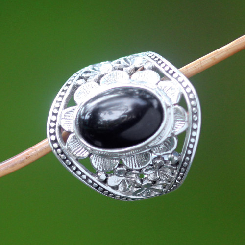 Unique Sterling Silver and Onyx Cocktail Ring 'Frangipani Mystery'