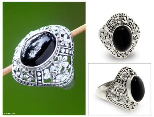 Sterling Silver and Onyx Cocktail Ring 'Silence'