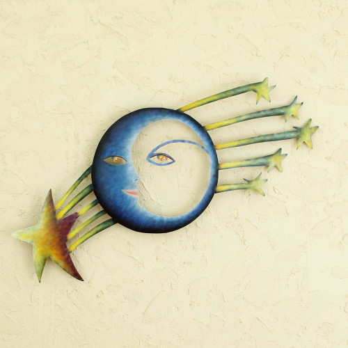 Fair Trade Sun and Moon Steel Yellow and Blue Wall Art 'Cosmic Consciousness'
