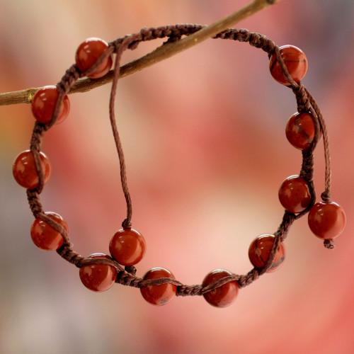 Artisan Crafted Jasper Shambhala-style Bracelet 'Blissful Courage'