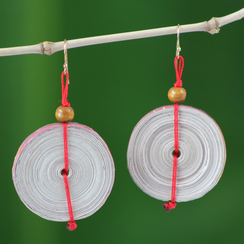 Hand Crafted Recycled Paper Dangle Earrings 'Hot Breakfast'