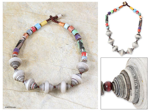 Handmade Recycled Paper Beaded Necklace 'Easy Spirit'
