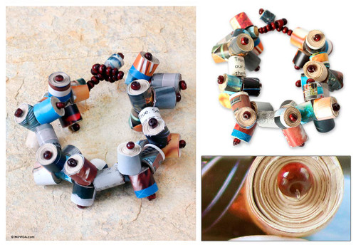 Recycled Paper Beaded Bracelet 'Exclusive Invitation'