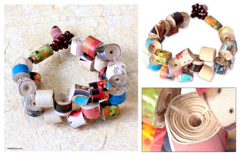 Recycled Paper Beaded Bracelet 'Crossroads'