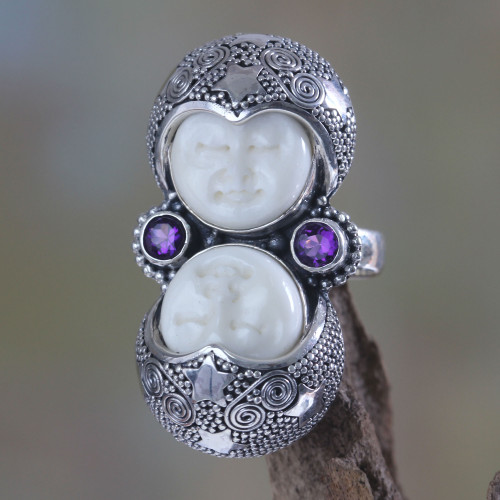 Artisan Crafted Sterling Silver and Amethyst Cocktail Ring 'Royal Romance'