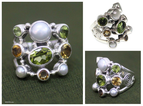 Pearl and Peridot Cluster Ring 'Tree of Lights'