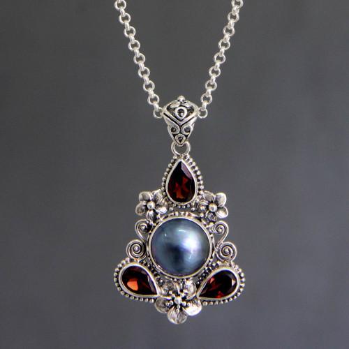 Hand Made Garnet and Pearl Necklace 'Frangipani Trio'