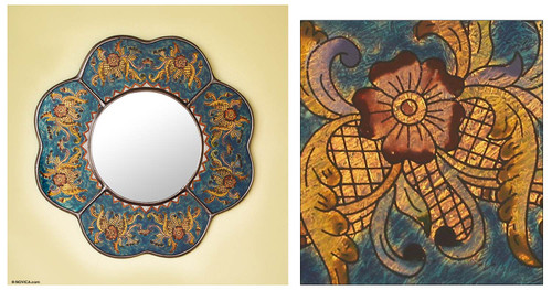 Andean Reverse Painted Glass Blue Floral Wall Mirror 'Blue Cajamarca Blossom'