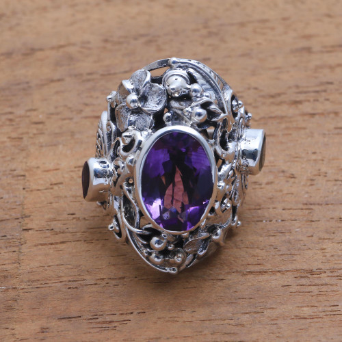 Unique Sterling Silver and Amethyst Cocktail Ring 'Frangipani Butterfly'