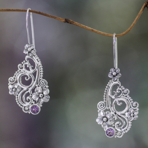 Hand Made Floral Sterling Silver and Amethyst Earrings 'Frangipani Arabesques'