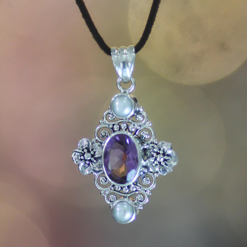 Handcrafted Floral Pearl and Amethyst Silver Necklace 'Frangipani Queen'