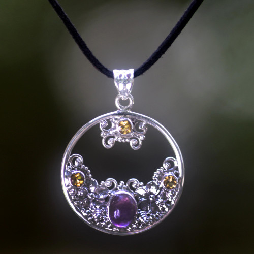 Citrine Amethyst and Sterling Silver Necklace Bali Jewelry 'Frangipani Moon'