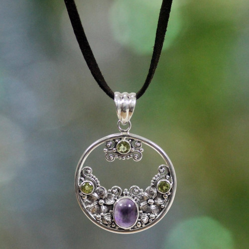 Peridot Amethyst and Sterling Silver Necklace Bali Jewelry 'Frangipani Moon'