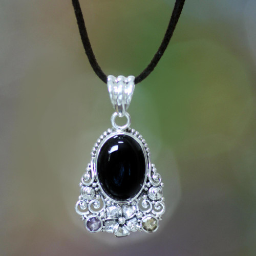 Onyx Amethyst Citrine and Sterling Silver Necklace Jewelry 'Empress Garden'
