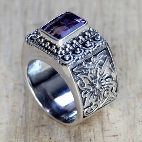 Balinese Silver and Amethyst Cocktail Ring 'Royal Beauty'