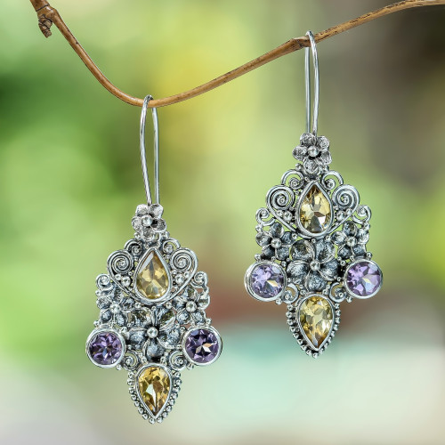 Balinese Citrine and Amethyst Silver Earrings 'Secret Garden'