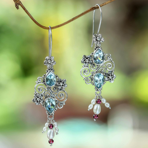 Balinese Cultured Pearl and Blue Topaz Earrings 'Floral Sonnet'