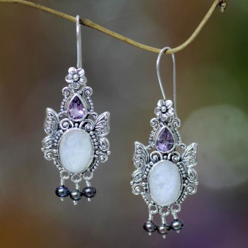 Balinese Cultured Pearl and Moonstone Amethyst Earrings 'Sky Empress'