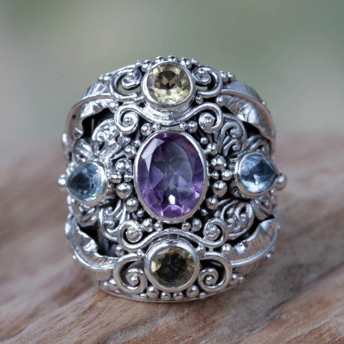 Balinese Amethyst and Blue Topaz Silver Cocktail Ring 'Butterfly Queen'