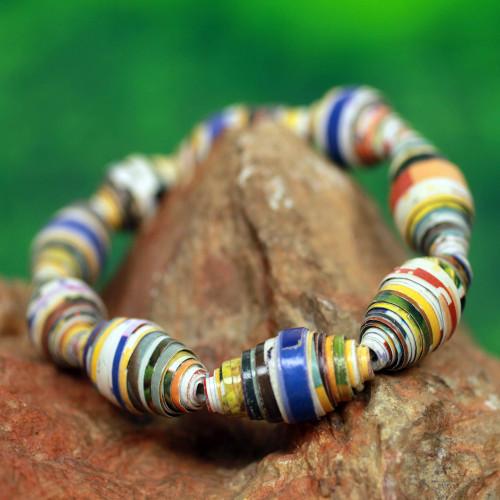 Multicolor Handmade Bracelet with Recycled Paper Beads 'Storyteller'