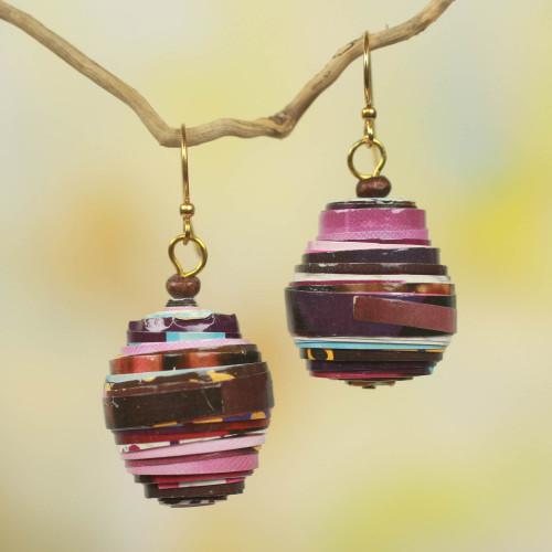 Recycled Paper Bead Handmade Earrings 'Modern Raspberry'