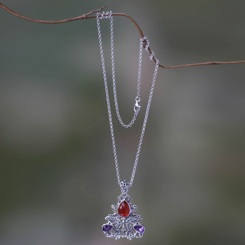 Carnelian and Amethyst Butterfly Necklace 'Lady Butterfly'