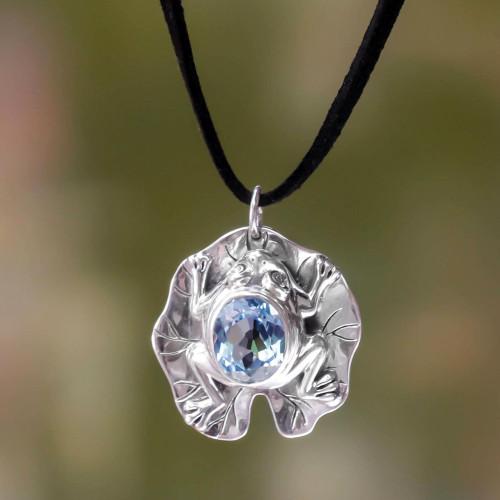 Artisan Crafted Blue Topaz Frog Necklace 'Frog Prince'