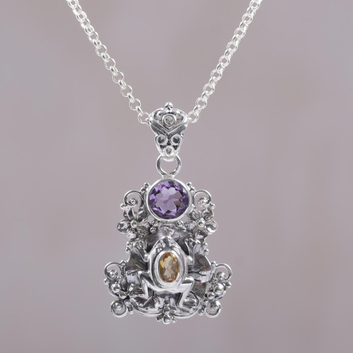 Amethyst and Citrine Frog Pendant Necklace from Bali 'Rainforest Frog'