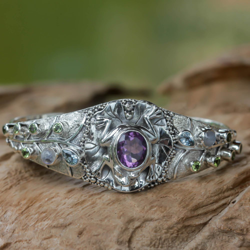 Multi-gemstone Silver Cuff Bracelet from Bali 'Frog Song'