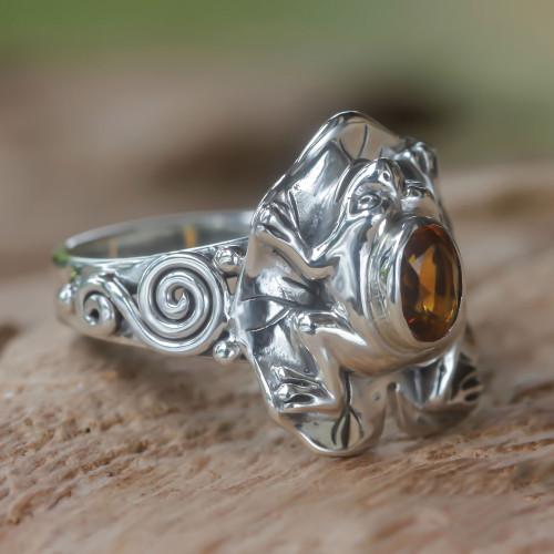 Citrine and Silver Frog Cocktail Ring 'Golden Rainforest Frog'