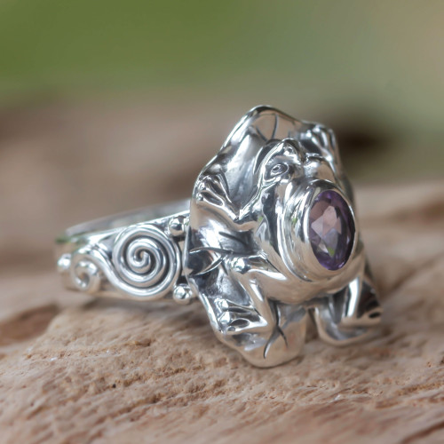 Amethyst and Silver Frog Cocktail Ring 'Lilac Rainforest Frog'