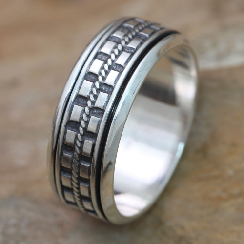 Hand Crafted Sterling Silver Spinner Meditation Ring for Men 'Long Journey'