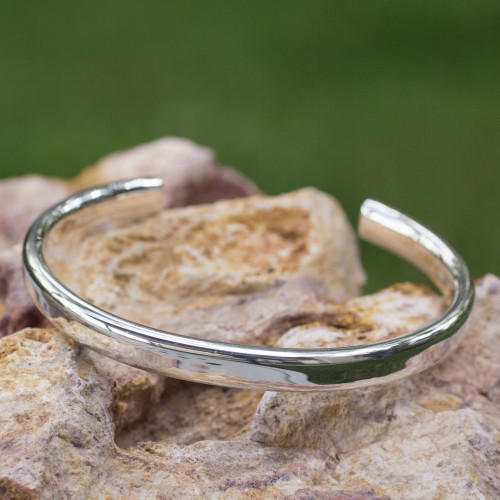 Sleek Polished Taxco Sterling Silver Cuff Bracelet 'Perfection'