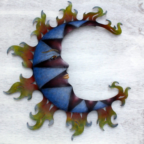 Hand Made Steel Moon Wall Sculpture from Mexico 'Blue Moon Shadows'
