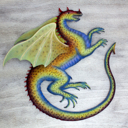 Mexican Hand Crafted Steel Dragon Wall Sculpture 'Blue Dragon'