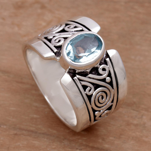 Artisan Crafted Sterling Silver Wide Ring with Blue Topaz 'Blue Karma'