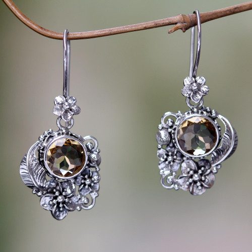 Finely Crafted Ornate Citrine Floral Earrings from Bali 'Sun Blossoms'