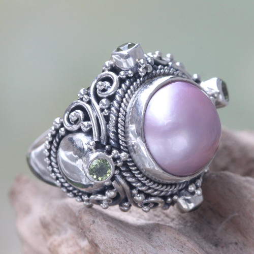 Pink Mabe Pearl and Peridot Artisan Crafted Cocktail Ring 'Regal Rose Glory'