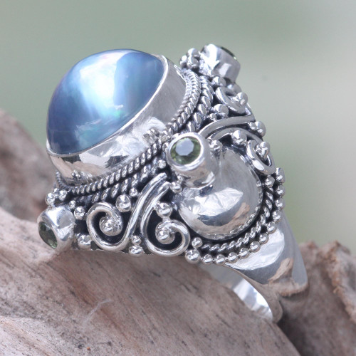 Artisan Crafted Blue Mabe Pearl and Peridot Cocktail Ring 'Regal Blue Glory'